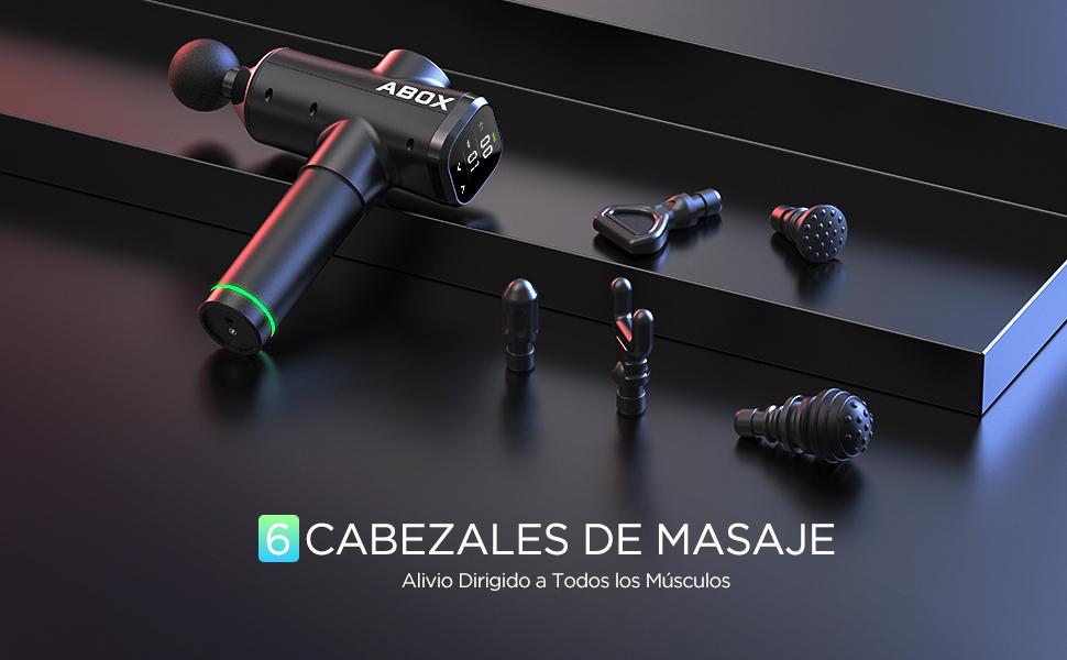 ABOX Pistola de Masaje Muscular Cabezales